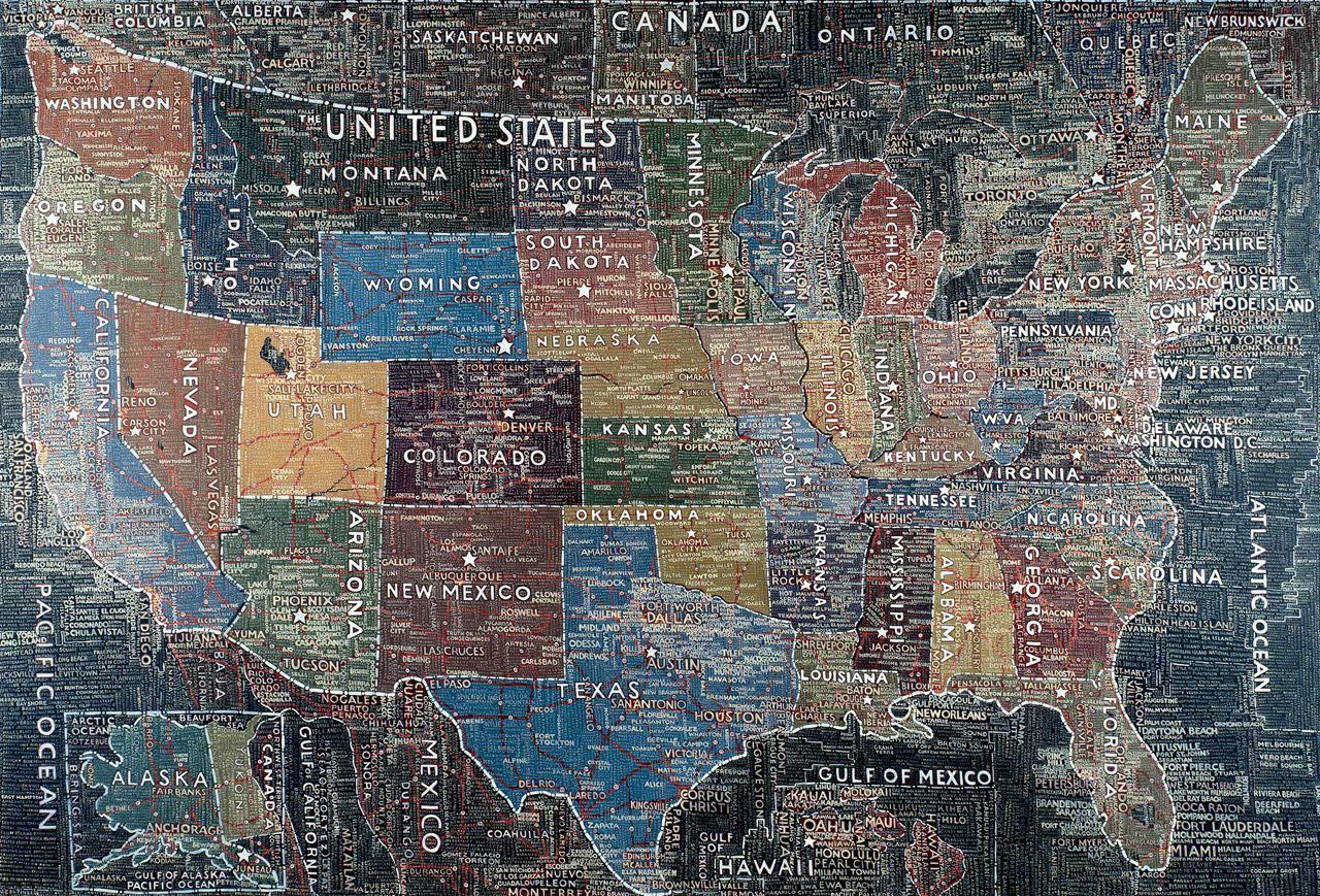 US Map acrylic on canvas 2007 Artist Paula Scher Arts