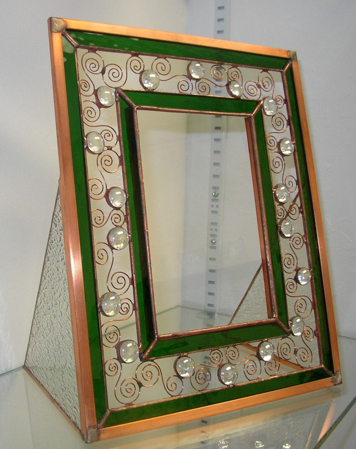 Stained Glass and Wire Picture Frame - Green and Copper w/Clear Glass Globs. $78.00, via Etsy.