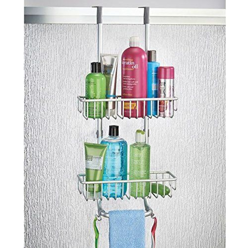 mDesign Over Door Shower Caddy - Practical Shower Shelves with Drill ...