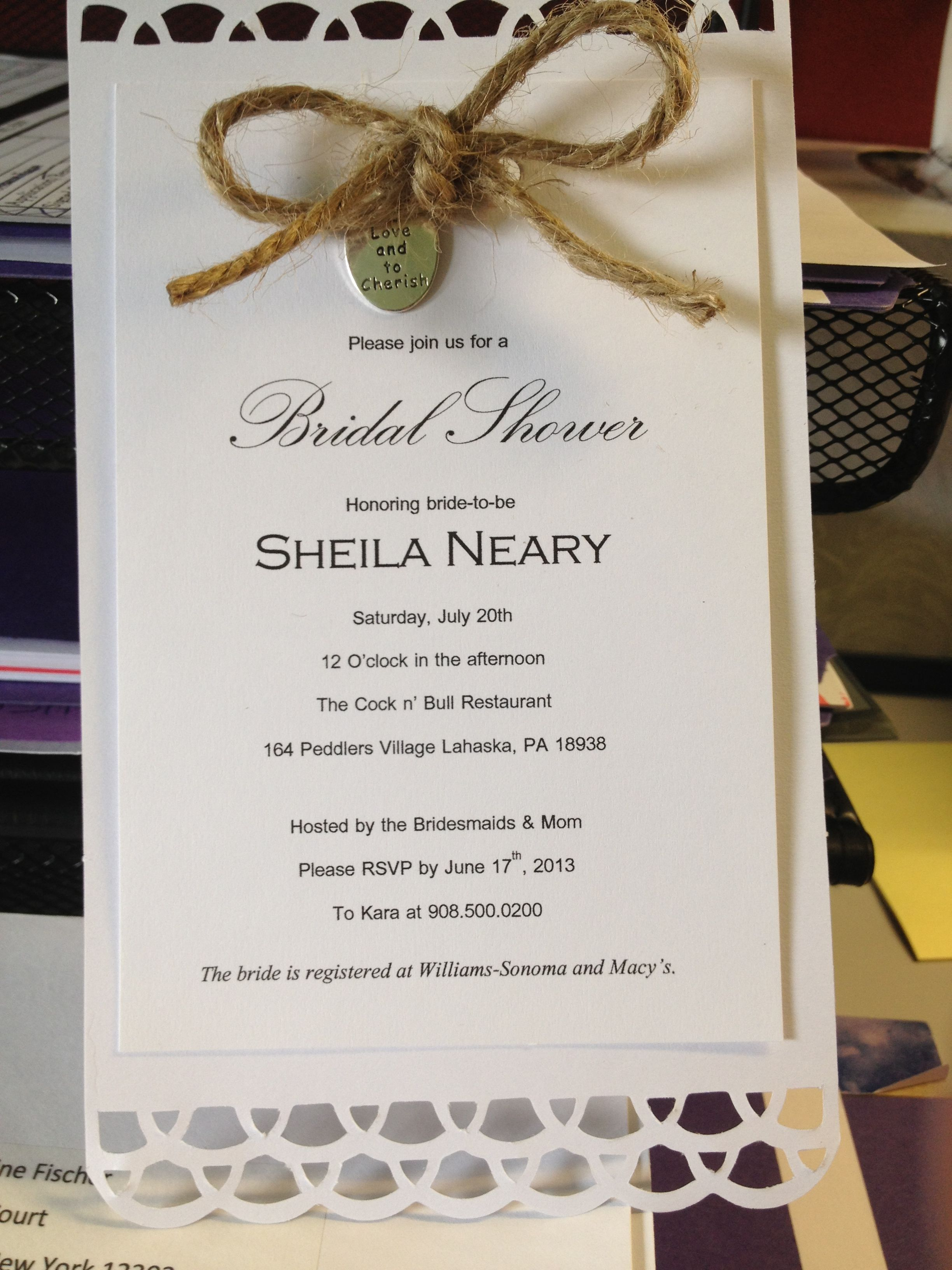 Twine bowed country themed bridal shower invitations :) simple and ...