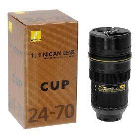 Stainless Steel Insulated Tumbler/Mug designed to look like a Nikon 24-70mm lens. Fun gift idea.