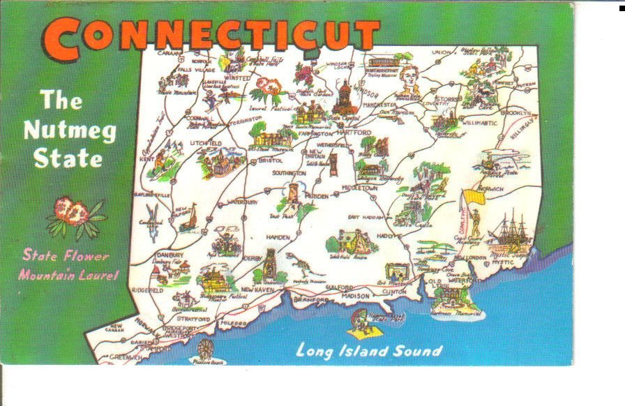 Connecticut State Map Illustrated Postcard