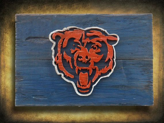 Chicago Bears Wall Art chicago bears handmade distressed wood sign, vintage, art