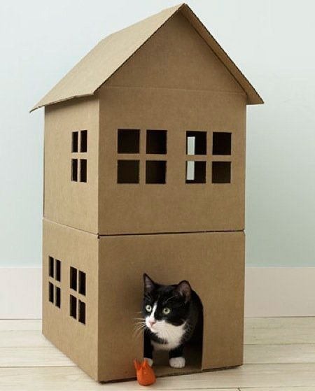 Charmant How To Make A Cardboard Cat Playhouse. How To Make A Cardboard Cat  Playhouse At Home Article. Cat Playhouse For Your Home.