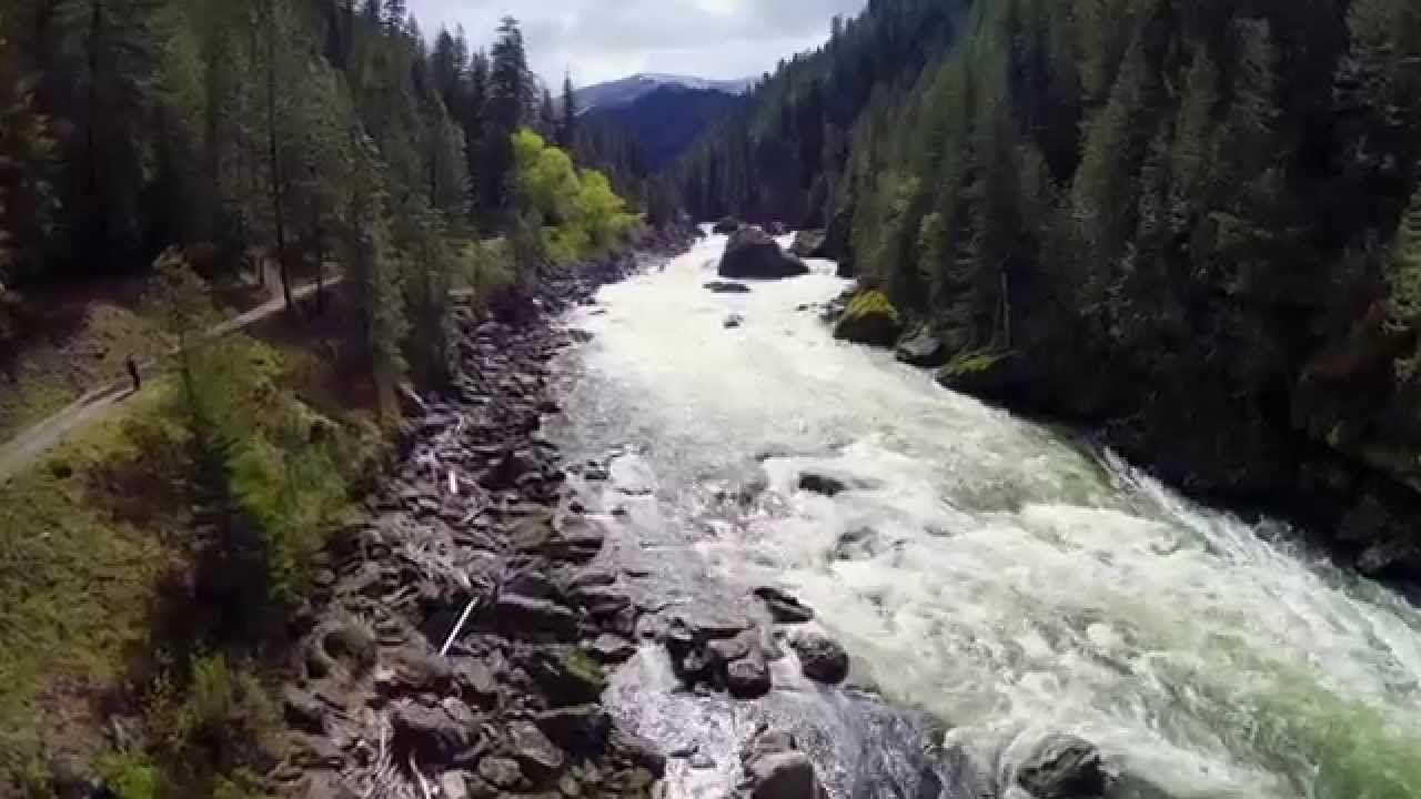 Relaxing Drone Flight over Idaho's Selway Falls IDAHO