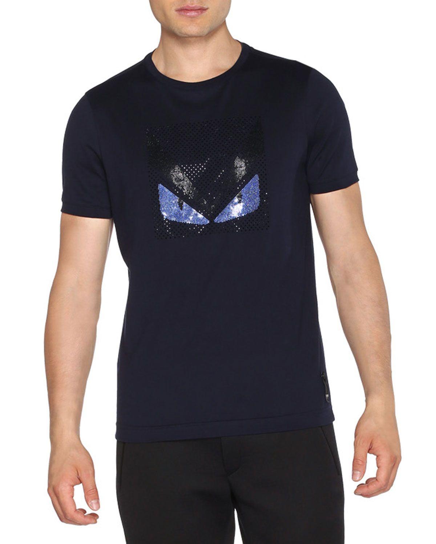 Fendi Sequin Monster Eyes Short-Sleeve T-Shirt 9a75a022f637