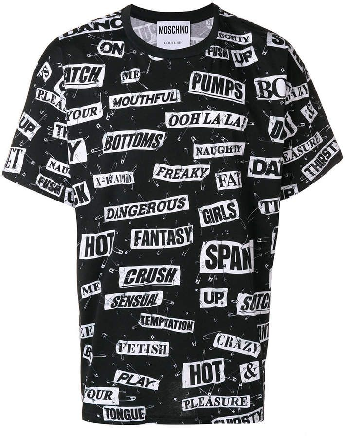 af38d95d Moschino safety pin slogan patch T-shirt | Fashion 2019 in 2019 ...