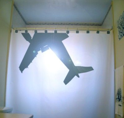 Airplane Shower Curtain Jumbo Jet Bathroom Decor Aviation Gift For Pilot Extra Long Fabric Available In 84 96 Inch Custom Size Jumbo Jet Jet Airlines Shower