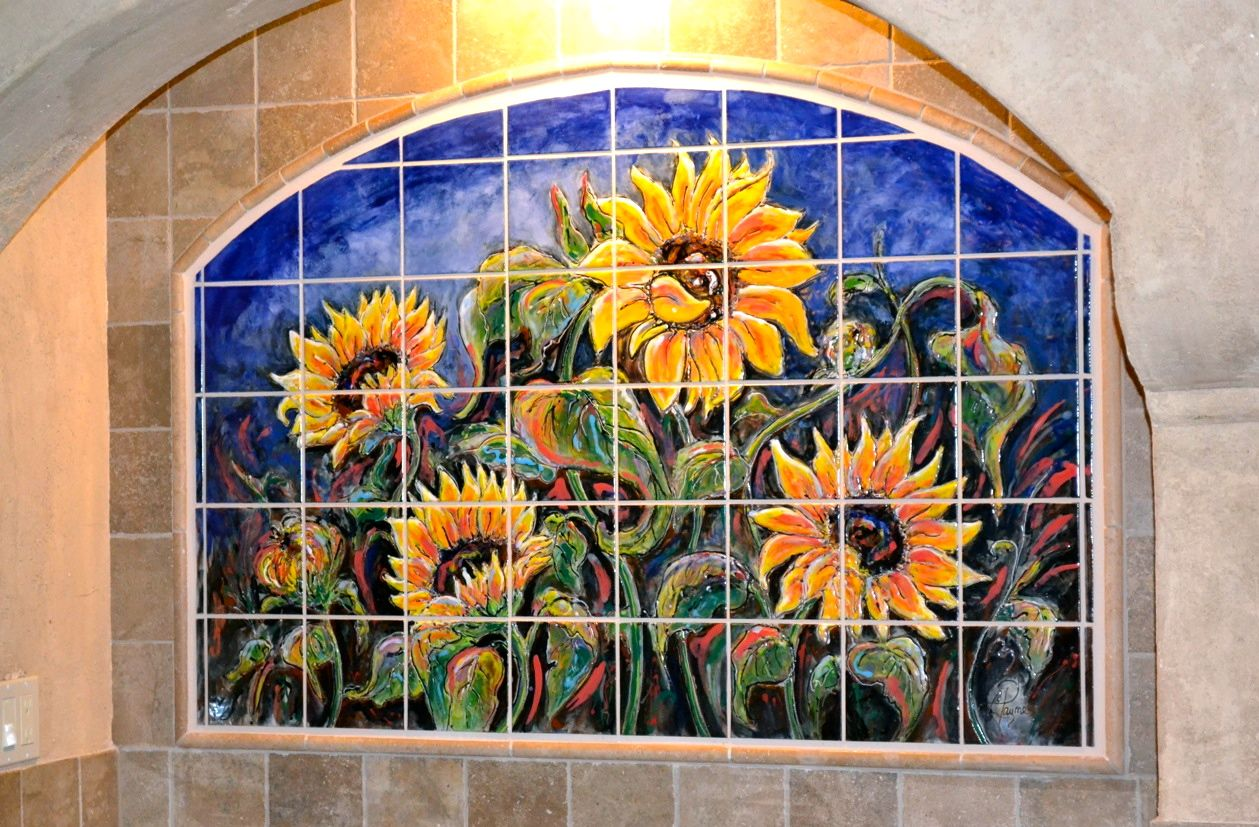 Carolyn payne murals hand painted tile mural kitchen for Ceramic mural designs