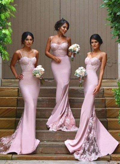 b0f5f56c063 Gorgeous Spaghetti Straps Mermaid Backless Long Bridesmaid Dress ...