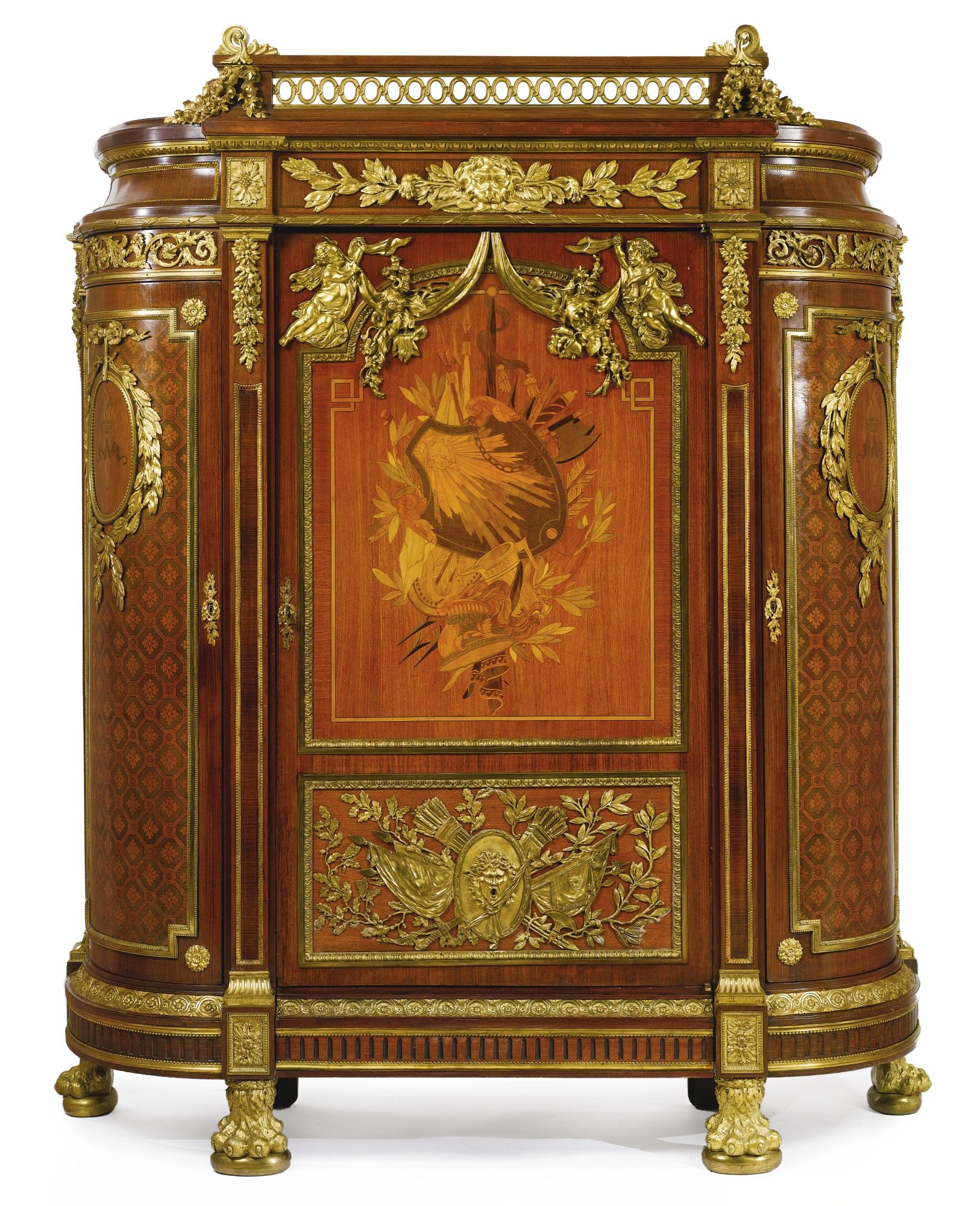 grand cabinet aux armes a palatial sized gilt bronze mounted mahogany fruitwood marquetry. Black Bedroom Furniture Sets. Home Design Ideas