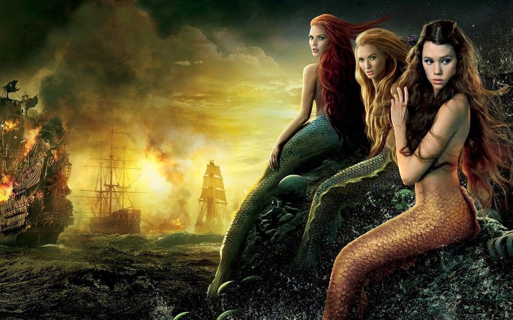 Home Wall Decor Art Oil Painting Mermaid and Pirate Ship on Canvas Print 20x32