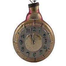 Russian vintage glass Christmas ornament.Big clock 5inch.