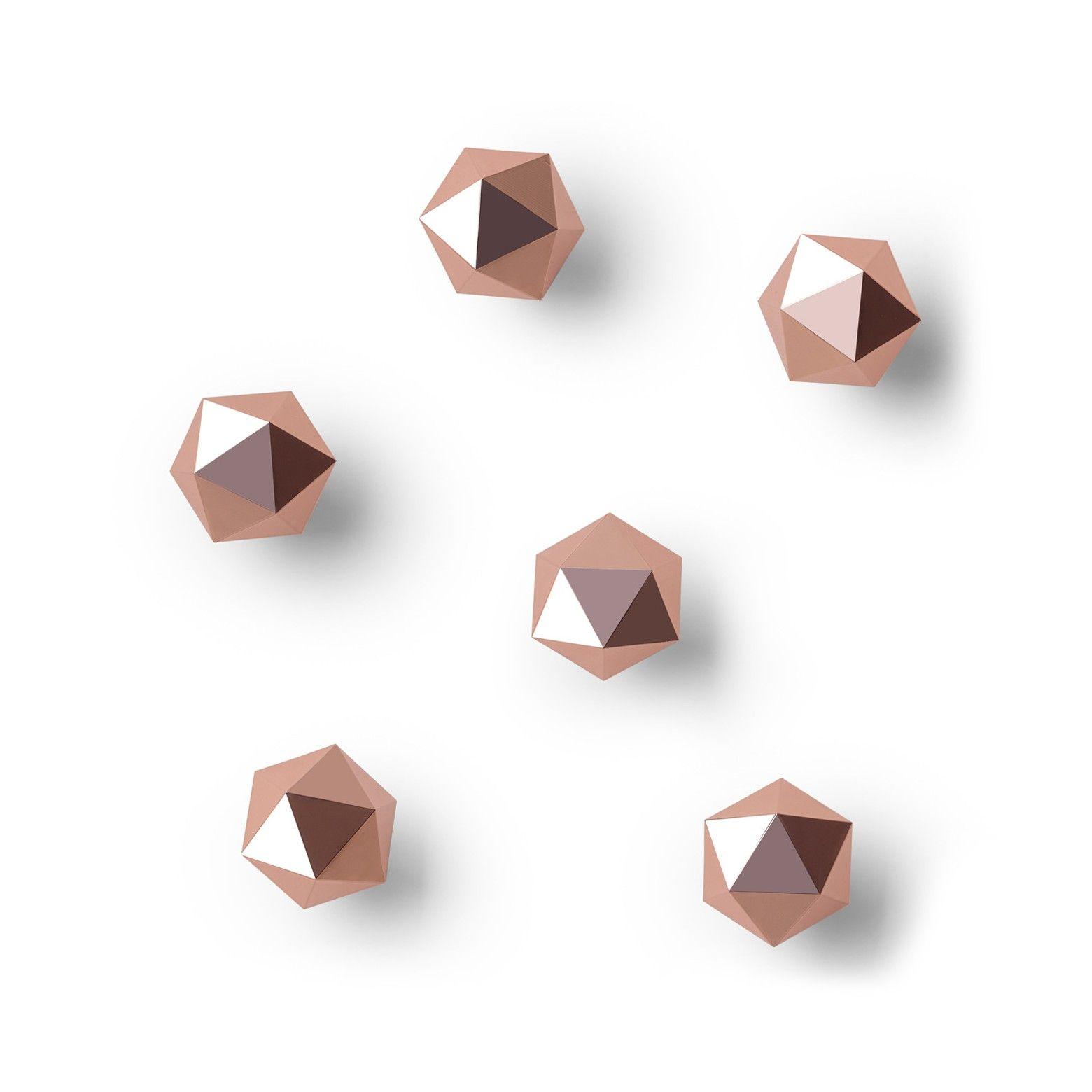 Copper Color Geometric Metal Knob Set of 2 Rose Gold Metal Hexagon Knobs