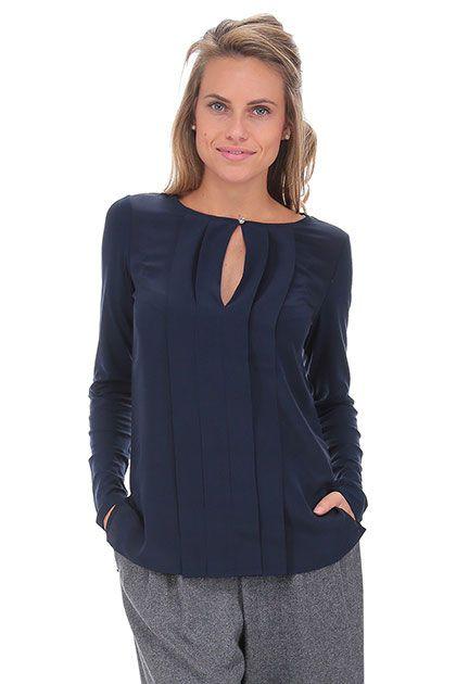 LIU.JO - Camicie - Abbigliamento - Camicia in seta e viscosa con pieghe… 4ba9b5b19a2