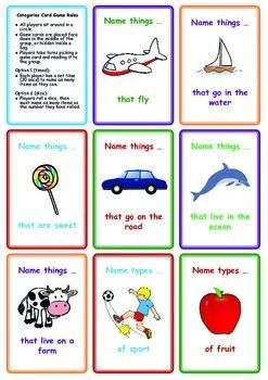 Free Categories Card Game Name Things That Card Games School Signs Speech Therapy Worksheets