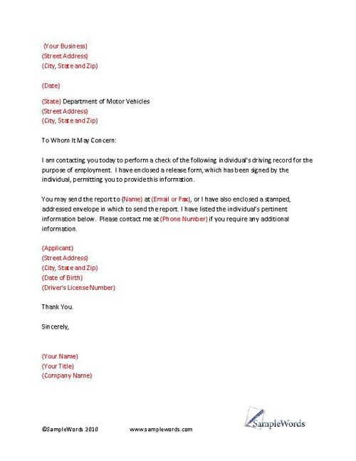 Driving Record Check Letter Template Letter templates, Template - business reference letter