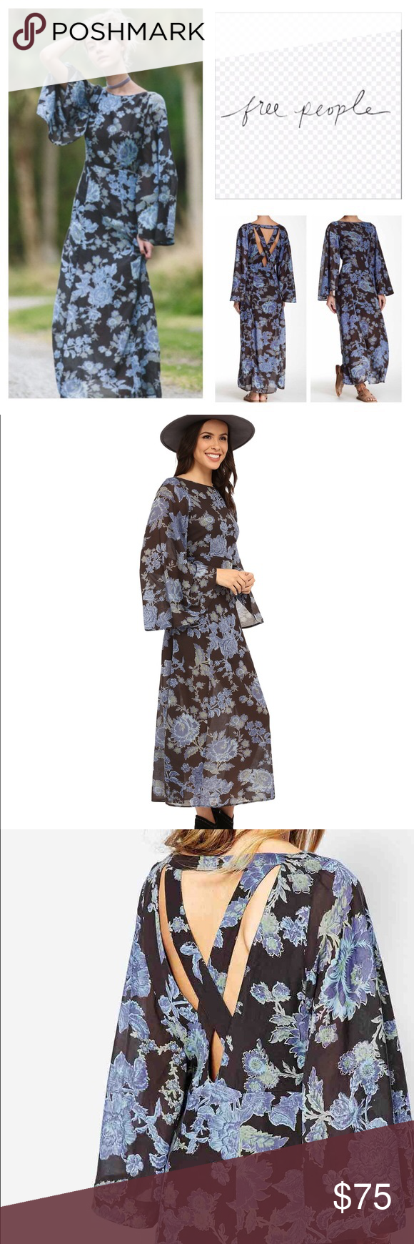 Free people nwt melrose maxi dress bell sleeve boutique pinterest