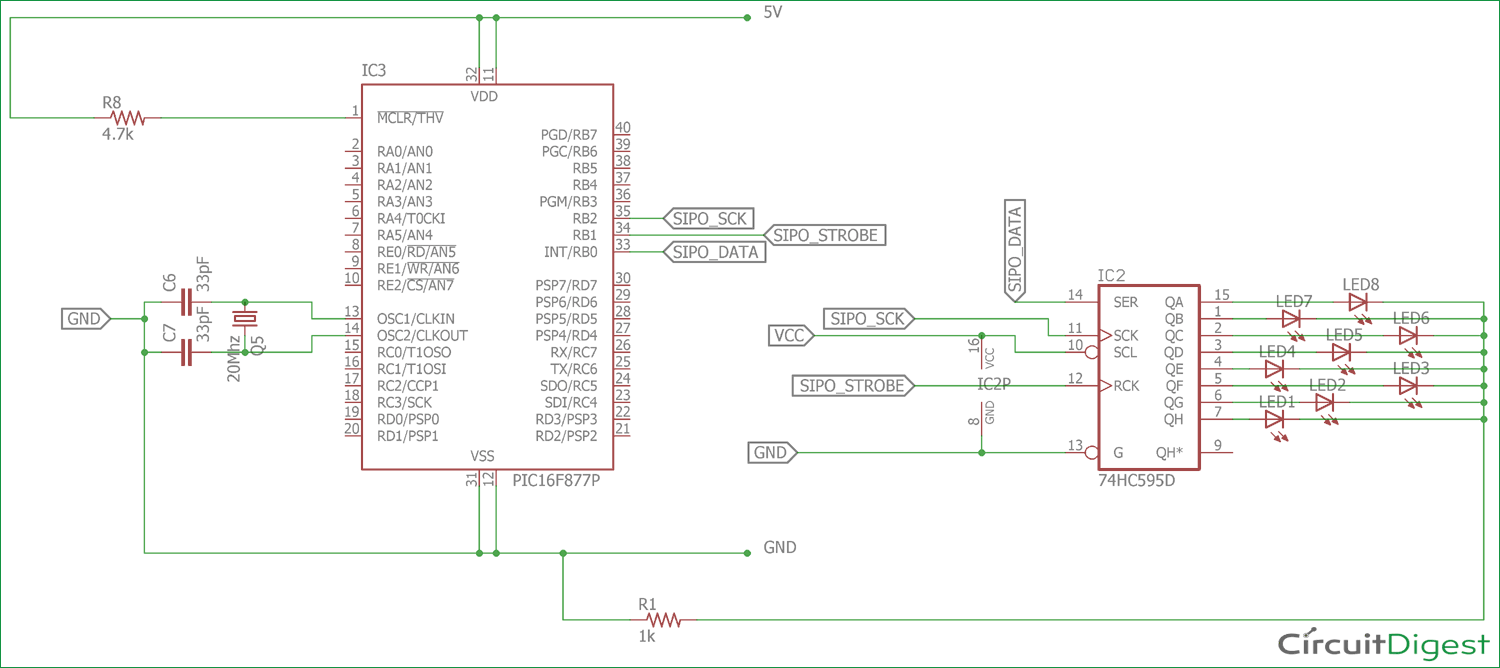 medium resolution of circuit diagram for interfacing 74hc595 serial shift register with pic microcontroller