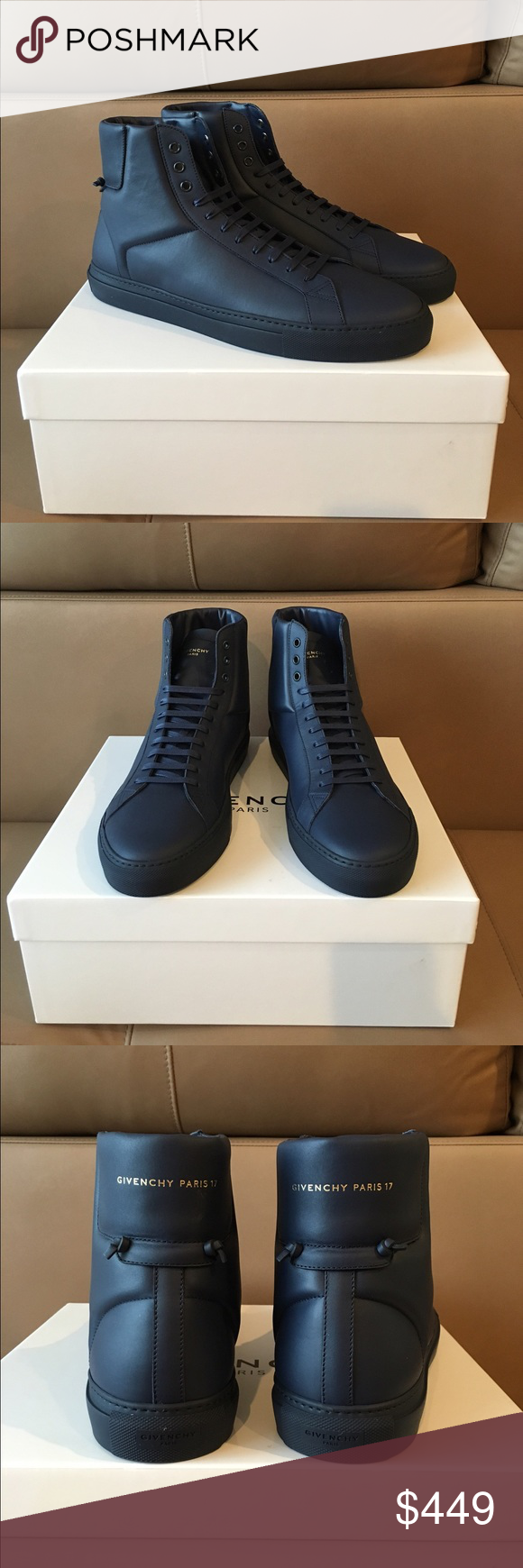 Givenchy Leather High Top Men's Sneakers 45--12 US Nib , 100% authentic Givenchy Blue leather high top sneakers in size 45--12 US . Assuming they are true to size ). No issues ) original dust bag and a box . Retail- $595 plus tax , current season . Sorry , no trading -:(. Thanks ! Givenchy Shoes Sneakers