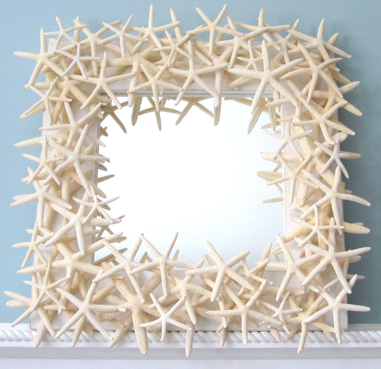 beach decor white starfish mirror nautical shell mirror white starfish seashell mirror