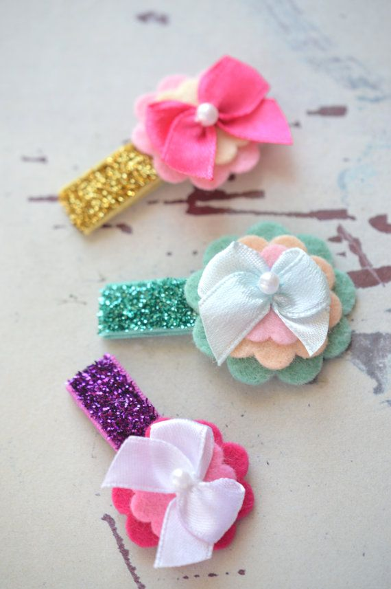Items similar to Baby Hair Clips Felt Flower Hair Clips in Glitter Itty Bitty Snap Clips on Etsy