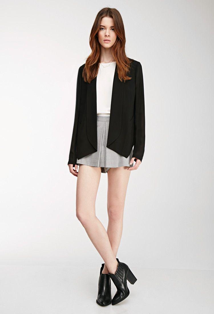 Dropped Lapel Chiffon-Sleeved Blazer - Jackets & Coats - 2000081540 - Forever 21 EU