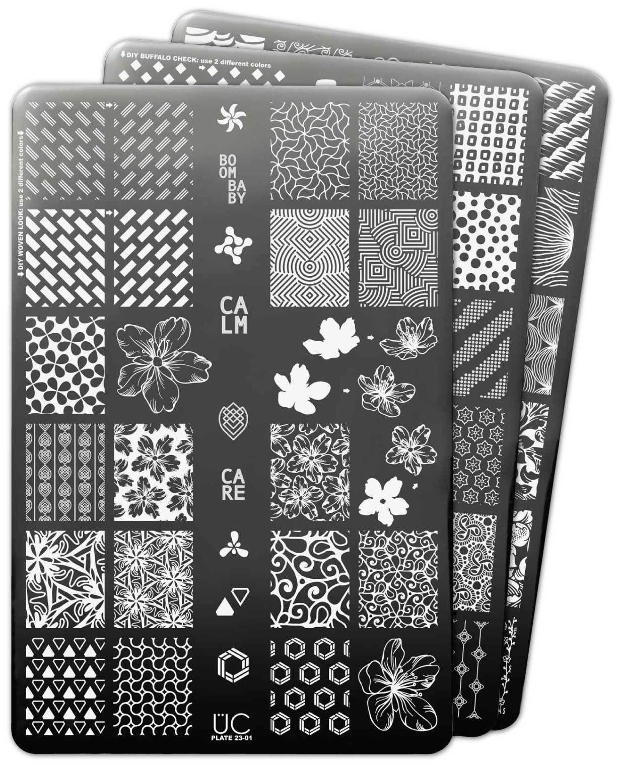 5c977183e12 This 3 stamping plate set has loads of beautiful designs and patterns like  hibiscus flowers, geometric patterns, floating flowers, dotted designs, ...