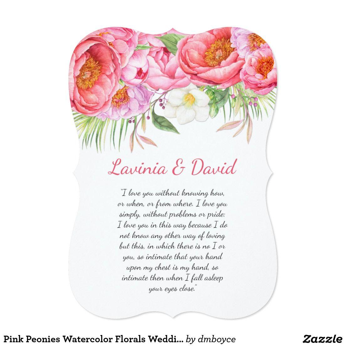 Pink Peonies Watercolor Florals Wedding Card Simply Weddings