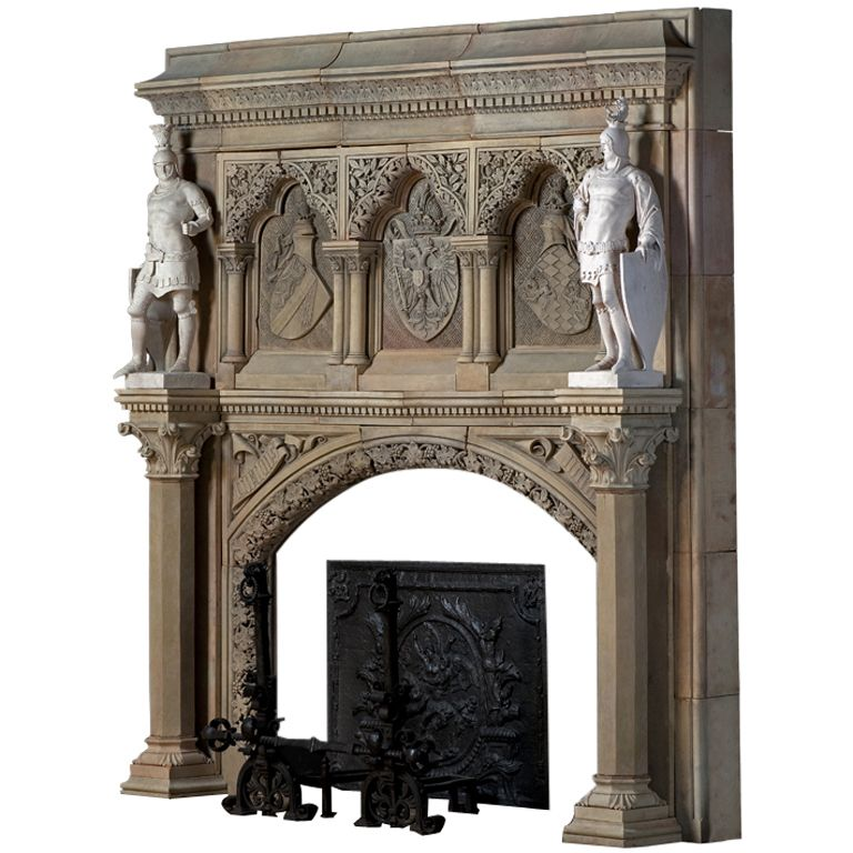 medieval style terracotta fireplace 19th century c3046