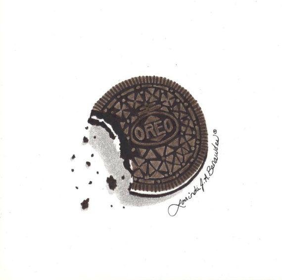 Drawing of oreo cookie photo realistic art illustr