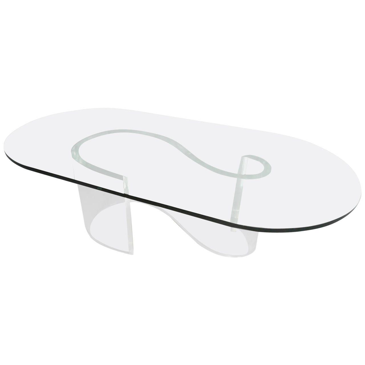 6e468e2d63d8 Mid-Century Modern S-Shape Lucite Coffee Table with Beveled Glass Top