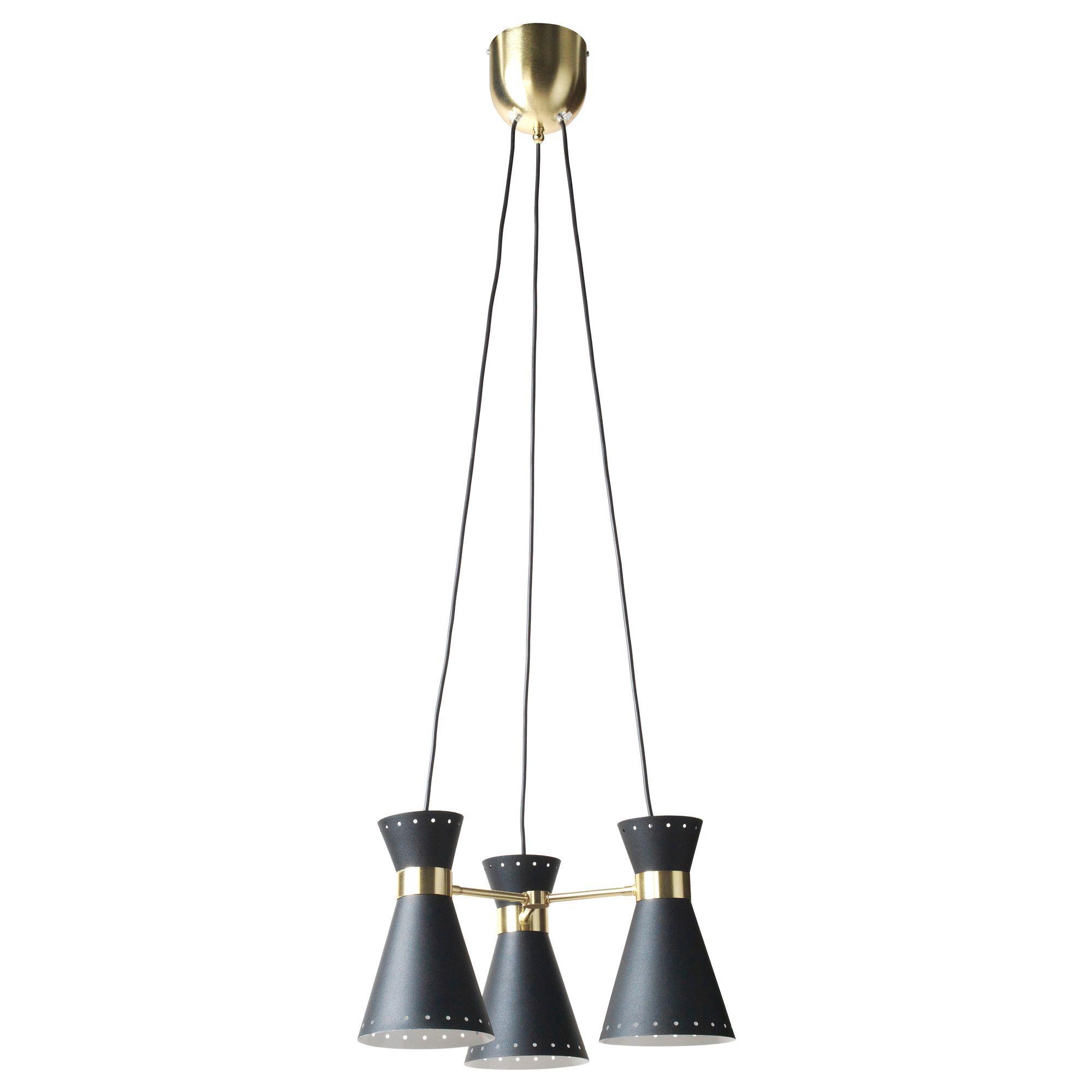 ARJEPLOG Suspension 3 lampes noir laiton étoiles IKEA