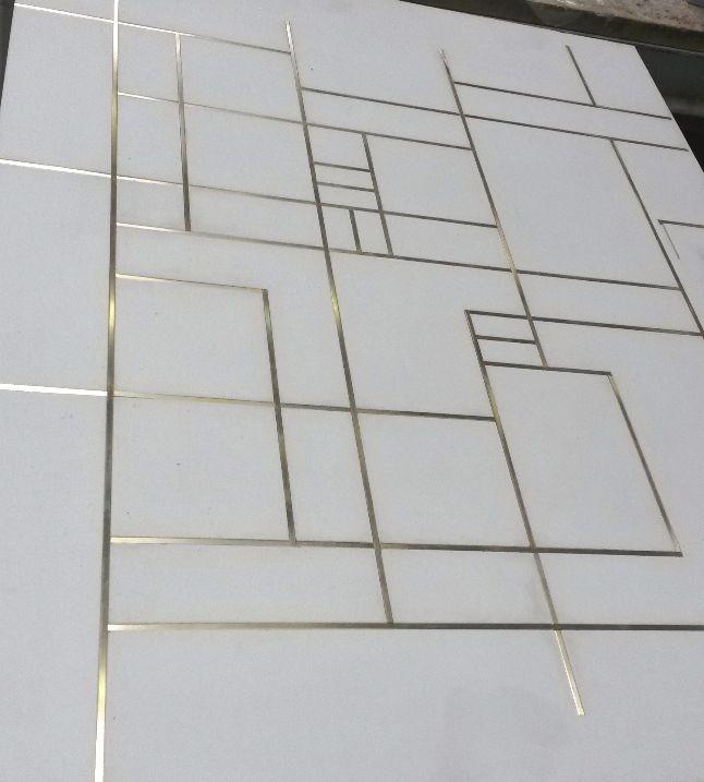 Concrete floor tiles with brass inlay | Inlay | Pinterest ...