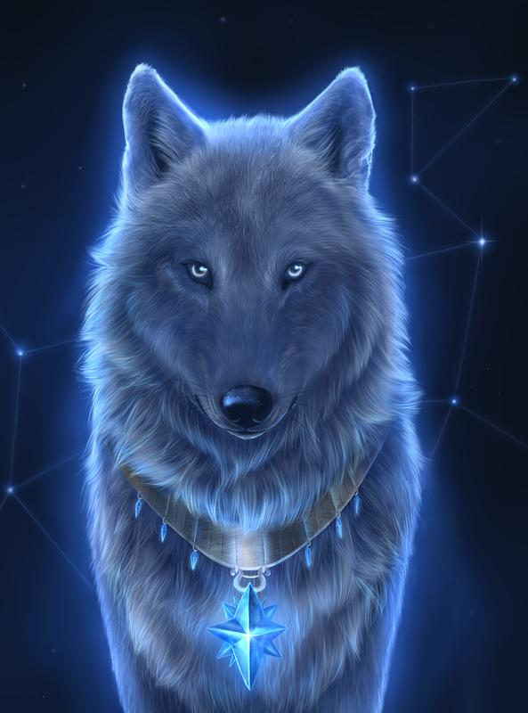 Loup Gris Bleute Sur Fond Constellation Peinture De Loup Loup Dessin Loup Gris