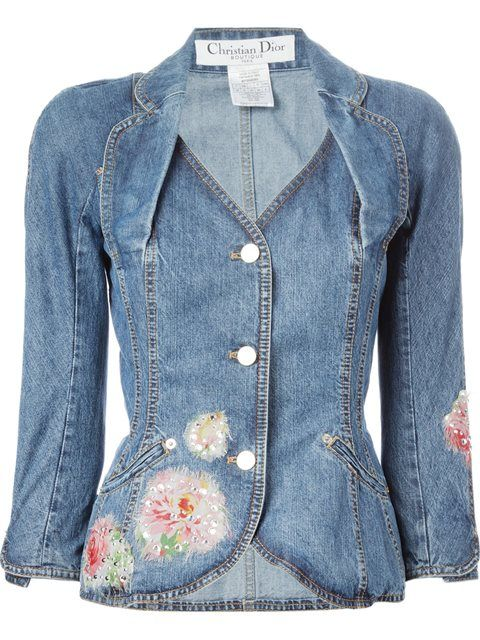 christian dior vintage embellished denim jacket. Black Bedroom Furniture Sets. Home Design Ideas