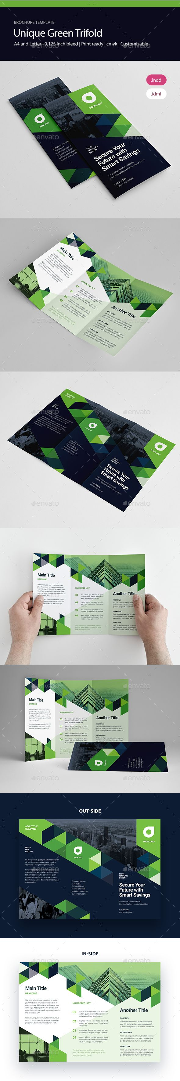 Unique Green Trifold Design Template Brochures Print Design Template InDesign INDD Download here