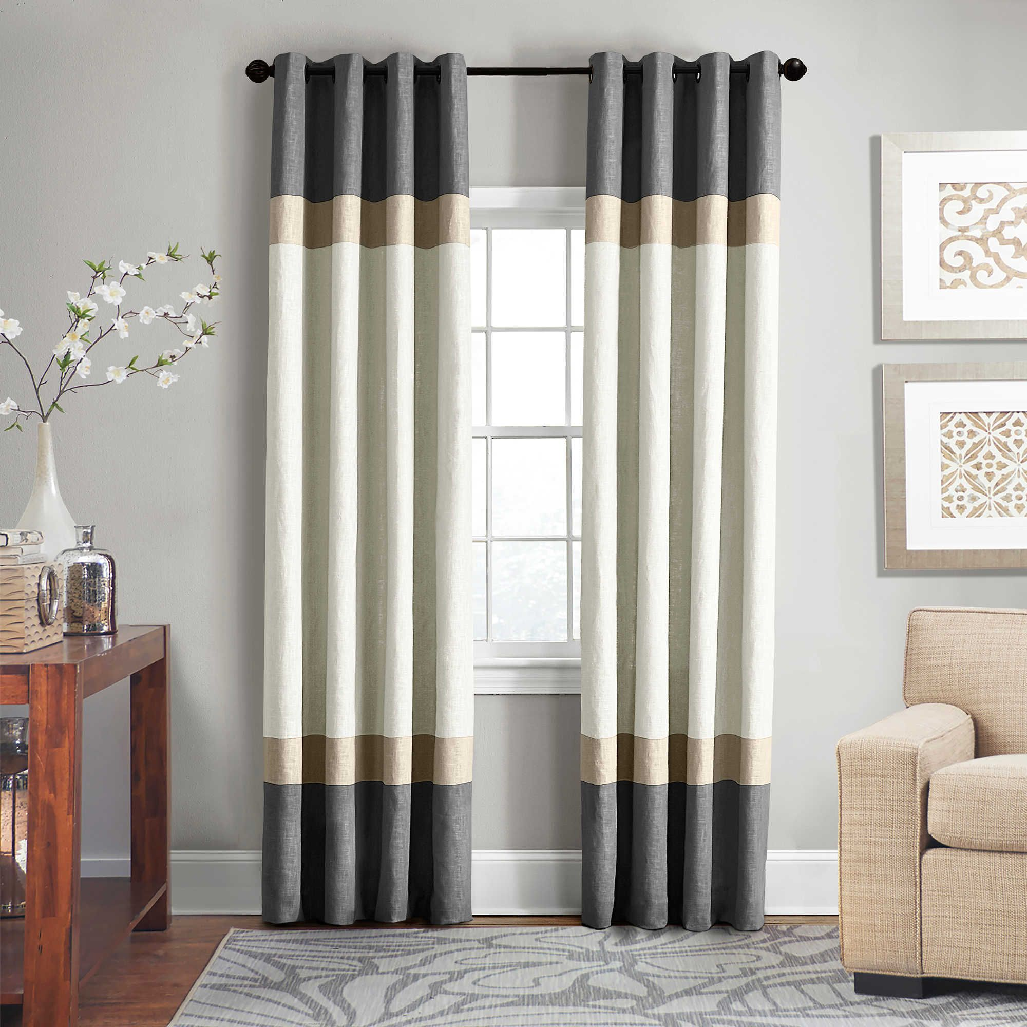 Veratex Brooklyn Colorblock Linen 63 Inch Grommet Window Curtain