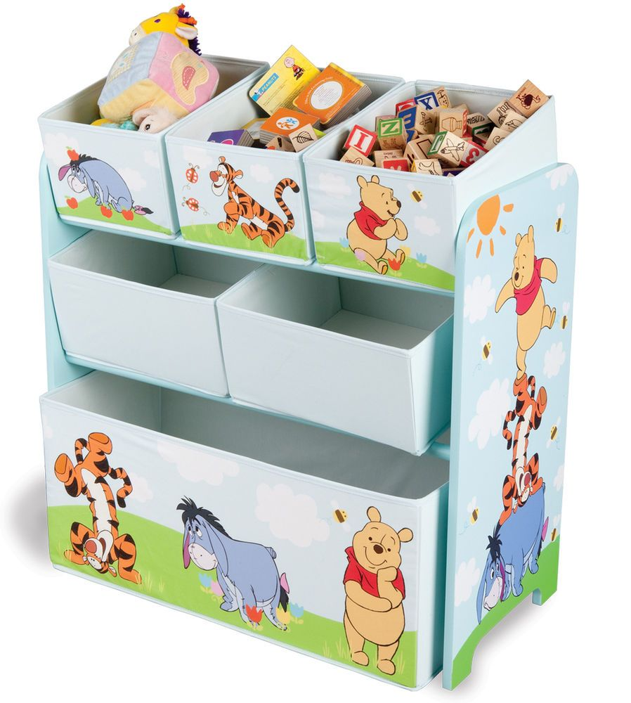 NEW IN STOCK Winnie the Pooh Wooden 6 Bin Storage Unit
