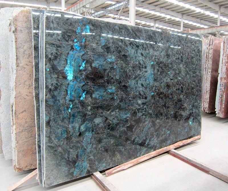 River White Granite Bathroom: Labradorite Blue River Granite Slab
