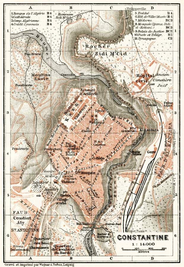 Constantine قسنطينة City Map Pinterest Vintage Maps - Buy vintage maps