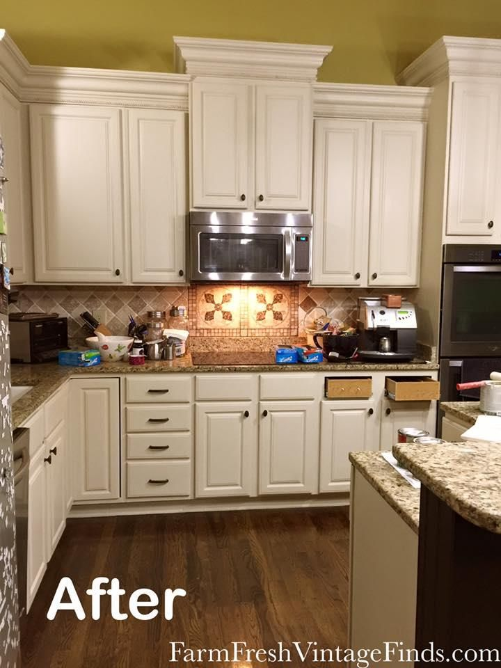 Kitchen makeover in linen milk paint general finishes for Kitchen cabinet finishes