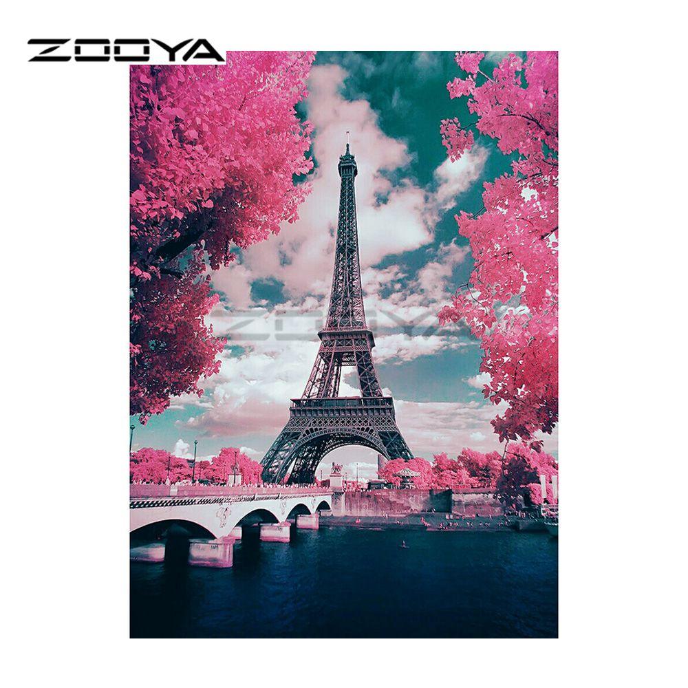 As Creation Pink Paris Pattern Eiffel Tower Childrens: ZOOYA 5D DIY Diamond Embroidery Landscape Eiffel Tower