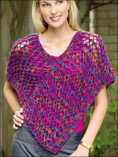 Brush Strokes Poncho-----------This stylish poncho works up quickly ...