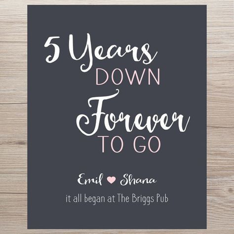 Anniversary Gift 5 Years Down Forever To Go Custom Etsy Custom Anniversary Gift 5 Year Anniversary Gift Personalized Anniversary Gifts