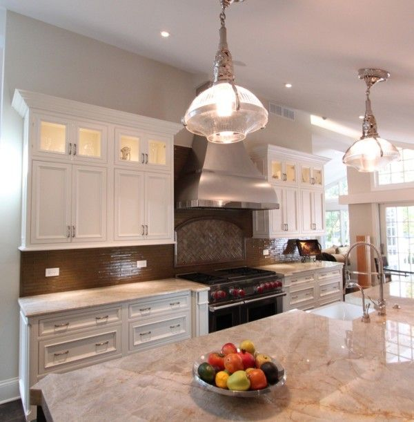 Luxury Hanging Lights Above Kitchen island