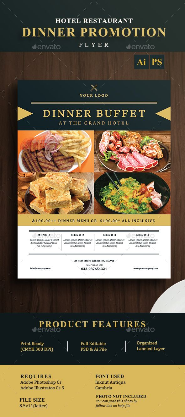Hotel Restaurant Dinner Promotion Flyer  Promotion Restaurants