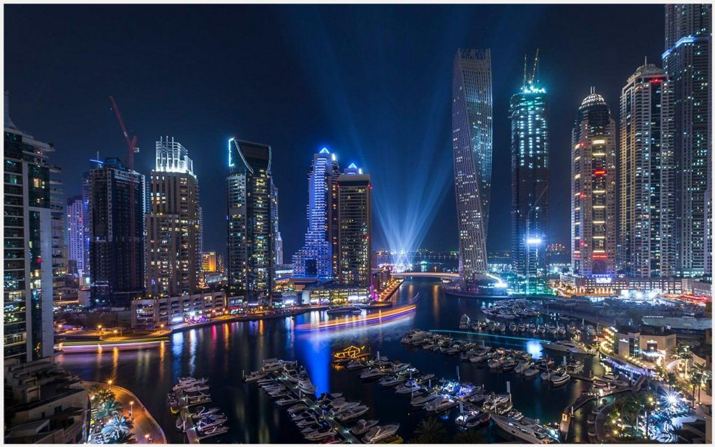 Dubai Marina Night City Wallpaper Dubai Marina Night City