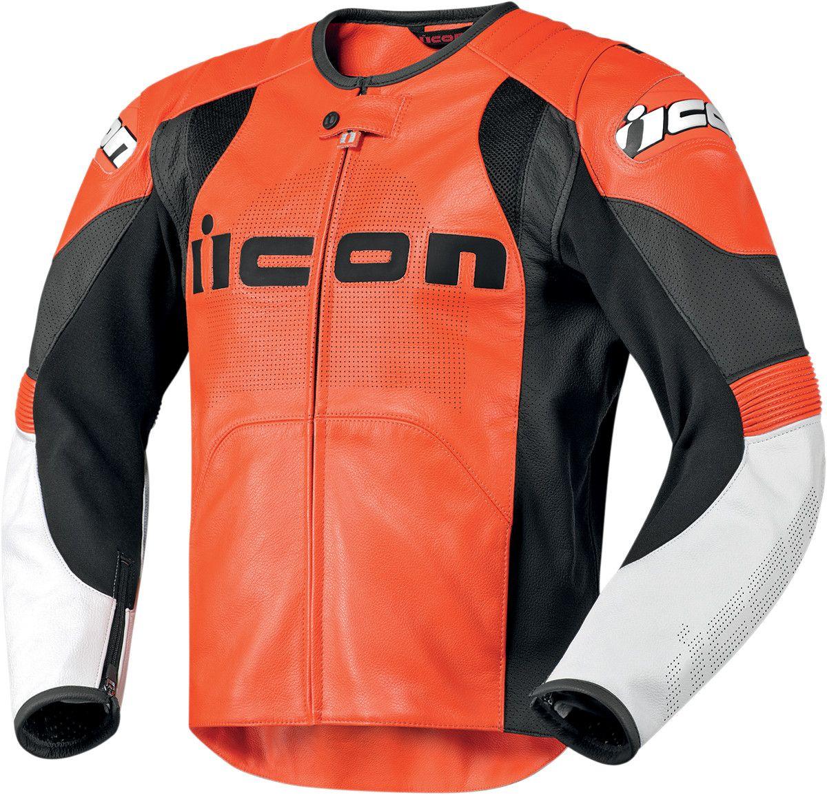 Icon Overlord Prime Leather Motorcycle Jacket Orange
