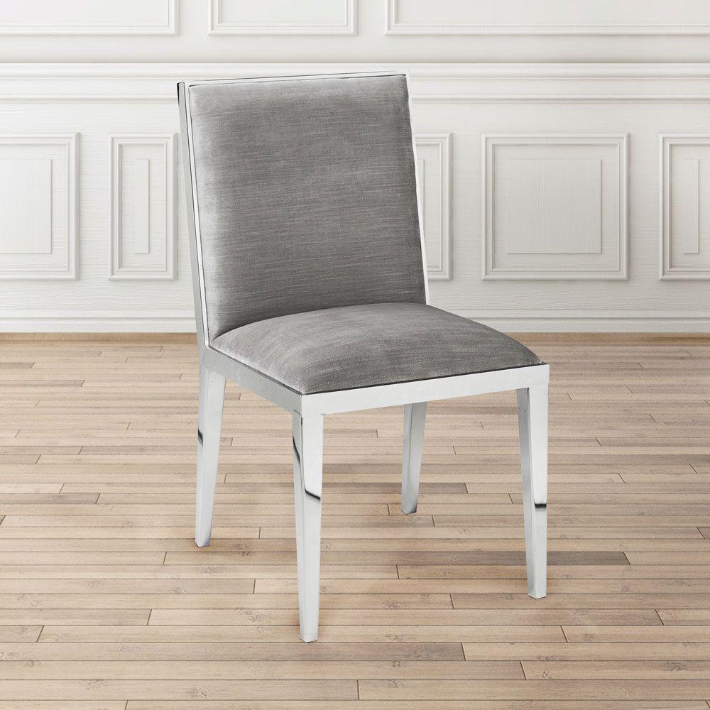 Velvet upholstered metal dining room chair grey metals outlet